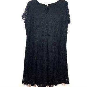 Roamans • Black Lace Plus Size Knee Length Dress
